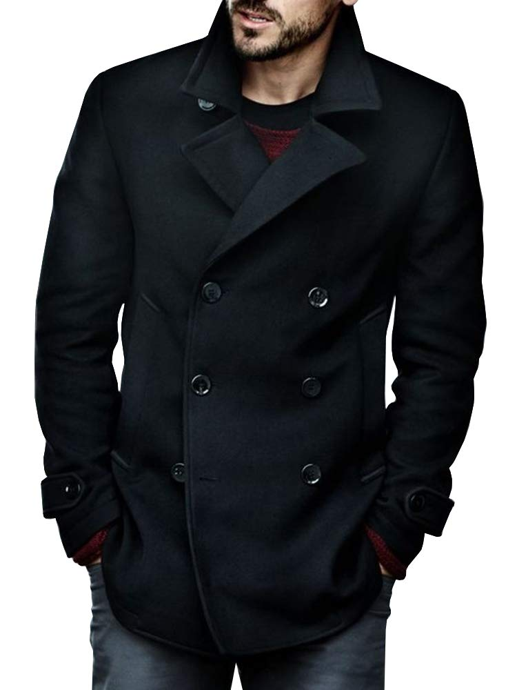 Makkrom Mens Lightweight Pea Coat Thin Slim Fit Double Breasted Cotton Half Fall Trench Coat Black by Makkrom