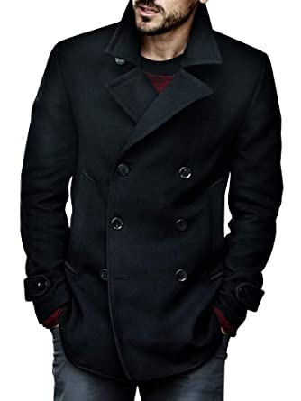 Makkrom Mens Slim Fit Pea Coat Double Breasted Classic Cotton Winter