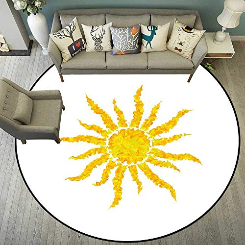 (Circularity Floor mat Office Hardwood Round Indoor Floor mat Entrance Circle Floor mat for Office Chair Wood Floor Round mat for Living Room Pattern 5'7