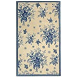 Safavieh Chelsea Collection HK250A Hand-Hooked Ivory and Blue Premium Wool Area Rug (3'9″ x 5'9″) For Sale