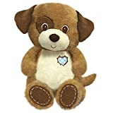 "First & Main 8"" Plush Stuffed Dog, White on Brown"