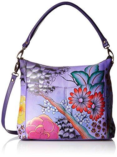 Anuschka Handpainted Leather Convertible Shoulder Bag Flo...