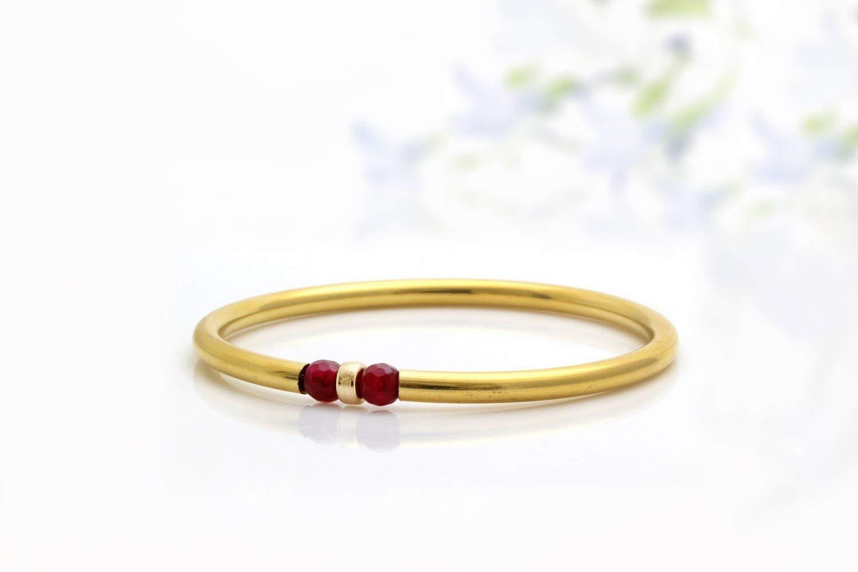 14K Gold Bracelet Birthstone Charm Bracelet Garnet Bracelet Gold Bangle Bracelet Beaded Bracelet Gold Filled Tube
