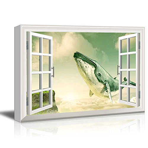 Window View Mystical Style Gigantic Whale Flying above the Clouds Gallery