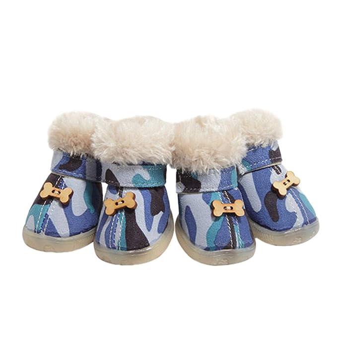 Ropa para Mascotas,Dragon868 4Pcs Deportes al Aire Libre de Camuflaje de algodón de Fondo Suave Botas Zapatos para Perros de Mascota: Amazon.es: Ropa y ...