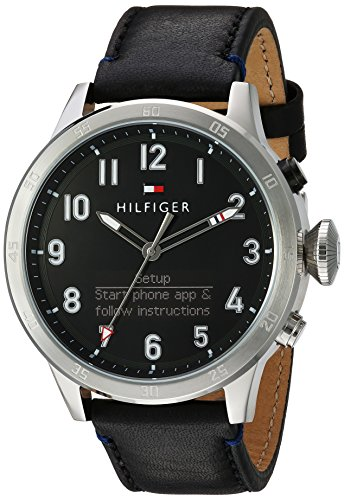 Tommy Hilfiger Mens TH 247 Quartz Stainless Steel and Leather Smart Watch ColorBlack (Model 1791299)