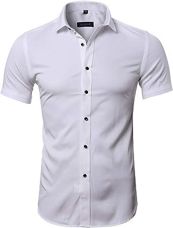 Camisa Bambú Fibra Hombre, Manga Corta, Slim Fit, Camiseta Elástica Casual/Formal para Hombre: Amazon.es: Ropa y accesorios