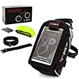 Premium Bicycle Phone Bag Max 6 inch Like iPhone X 8 7 or Samsung Galaxy S9 S8 Smartphone Quick-Release Extended Storage with 2 Extra Carrier Straps Bike Frame Front Top Tube Cycling Case eBook Bonus