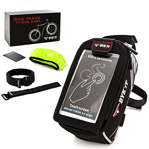Premium Bicycle Phone Bag Max 6 inch Like iPhone X 8 7 or Samsung Galaxy S9 S8 Smartphone Quick-Release Extended Storage with 2 Extra Carrier Straps Bike Frame Front Top Tube Cycling Case eBook Bonus by BYK'iT