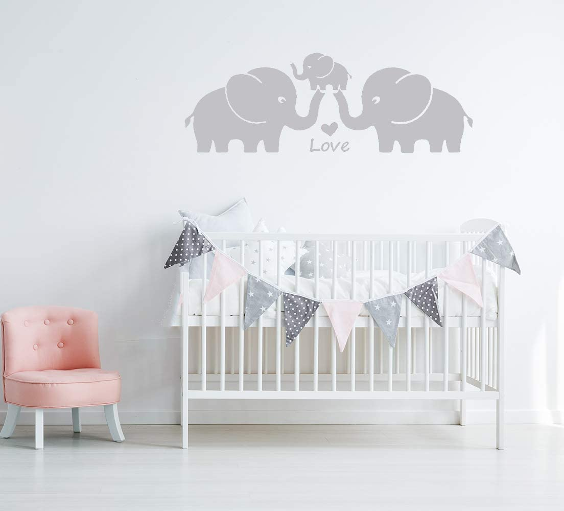 MAFENT Three Cute Elephant Family Wall Decal with Love Hearts Quote Art Baby or Nursery Wall Decor Bedroom Decoration (Grey, Small)