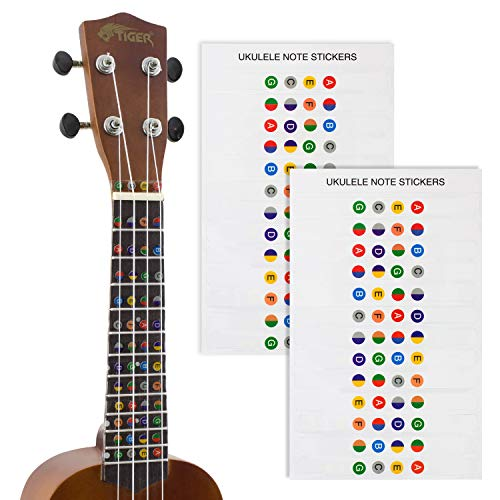 (Tiger Ukulele Note Sticker - Colour Coded Fretboard Stickers - 2)