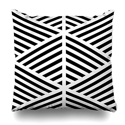 NOWCustom Throw Pillow Cover Dashes Slash Black Diagonal Lines On White Abstract Linear Pattern Angled Angles Asymmetrical Zippered Pillowcase Square Size 20 x 20 Inches Home Decor Pillow Case