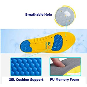 Orthotic Memory Foam And Gel Insoles - Orthopedic Plantar Fasciitis Pillow Inserts - Orthotics Plantars Insole For Boots,Running Shoe,Sport - Size L: (US Men 8-12 or US Women 10-14)