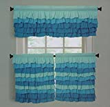 Dainty Home Tanya Decorative Tier and Valance Kitchen Curtain Set (48×24″, aqua/blue)