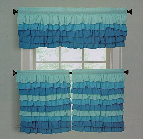 Dainty Home Tanya Decorative Tier and Valance Kitchen Curtain Set (48x24