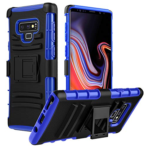 MoKo Samsung Galaxy Note 9 Case, Shock Absorbing Hard Cover Ultra Protective Heavy Duty Case with Holster Belt Clip + Built-in Kickstand Fit with Samsung Galaxy Note 9 (2018) 6.4 Inch - Blue