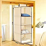 Cheesy Cheeks Non-Woven Cloth Hanging Storage Wardrobe, 4 Layers, Cream