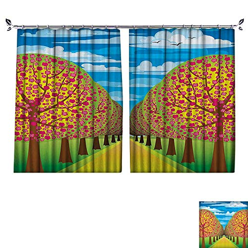 (DESPKON Environmental Protection Material Polyester Flowering Cherry Trees with Clear Sky and Flying Birds Pastel Home for Living Room Window,Sun Insulation. W72 x L72)