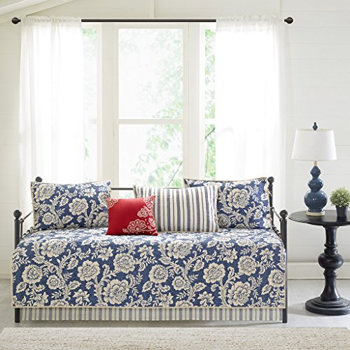 Madison Park Lucy 6 Piece Cotton Twill Reversible Daybed Set Navy Daybed
