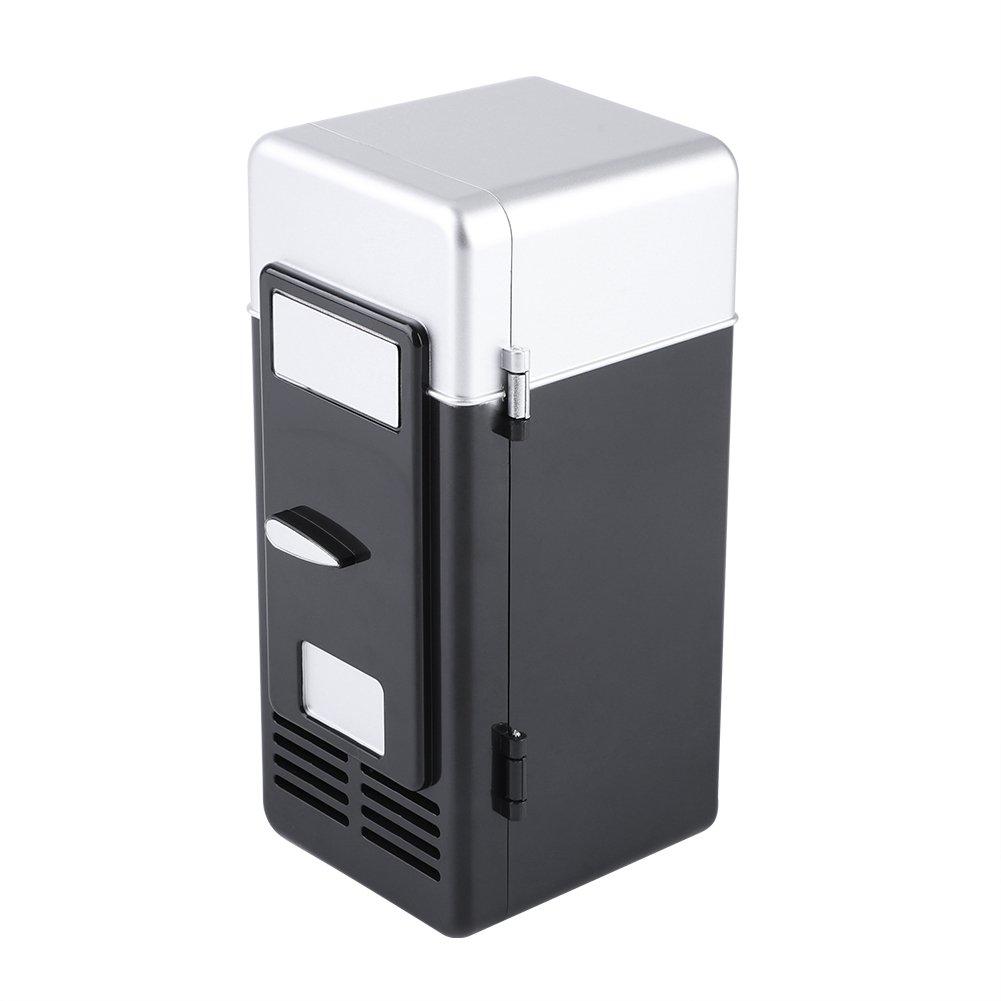 LED Mini Refrigerator USB Drinks Beverage Cans Refrigerator and Heater (Black)