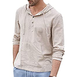 Men's Cotton Linen Hoodie Sweatshirts Long Sleeve Henley Shirts