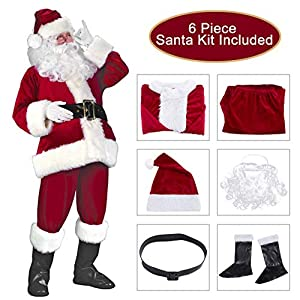 Garne T Santa Claus Suit Christmas Santa Costume for Men Women Xmas Santa Outfit (Wine RED 2)