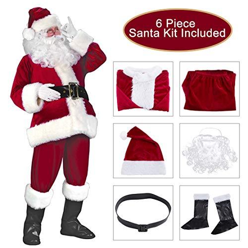 Garne-T Santa Suit Christmas Santa Claus Costume for Men Women Xmas Santa Outfit (Wine -