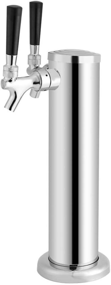 Doble Taps Torre de Cerveza de Acero Inoxidable, Kit Estándar Dispensador de Bebidas para Bares Hoteles Casas Actividades al Aire Libre