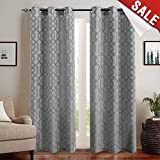 Light Filtering Curtains for Windows Jacquard Curtain Panels for Living Room 95 inch Length Opaque Geometry Trellis Pattern Privacy Bedroom Curtains Grey Grommet Top Drapes, 2 Panels