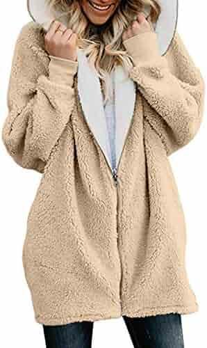 5d7a18adb34 YYF Women Zip up Fluffy Hooded Coat Cardigan Outwear Faux Fur Casual Jacket  with Pocket