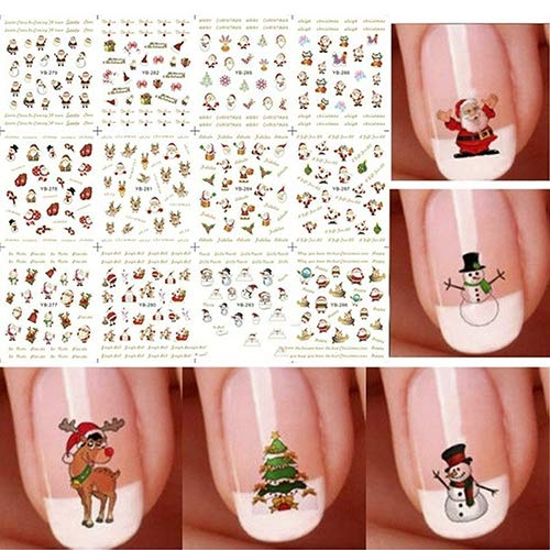 YuYe 12Pcs/Sheet Christmas Cute Tree Snowflake Snowmen Nail Art Stickers Xmas -