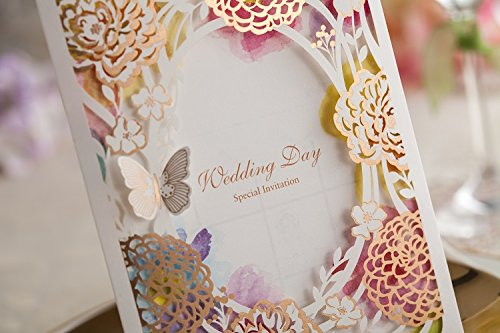 100x Wishmade CW065 Colorful Flower Wedding Invitations Cards DHL shipping by wishmade (Image #2)