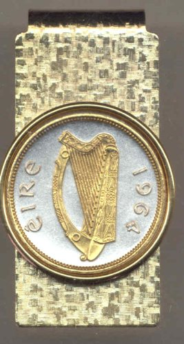 Gold size Harp Quarter Silver Coin clips Money Irish Toned on Gorgeous 2 axAw6