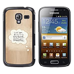 LECELL--Funda protectora / Cubierta / Piel For Samsung Galaxy Ace 2 I8160 Ace II X S7560M -- Beautiful Love Quote Bubble Text Brown --