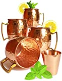 Moscow Mule Mugs Set Of 4. By Knooop. Premium Traditional, True Authentic, Hammered Unlined 16 Oz 100% Copper Mugs. Gift Box Includes Bonus Shot Glass & Cocktail Recipes Booklet offers