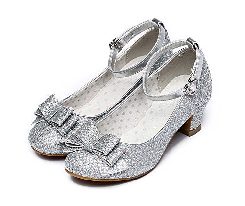 Alicorn Girls Glitter Low Heel Ankle-Strap Dancing Dress Shoes