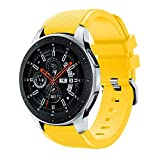 Polwer Replacement Bands Compatible for Samsung Galaxy Watch 46mm, Fashion Soft Silicone Watch Band Smartwatch Strap Wristband Accessories for Women and Men (Yellow)