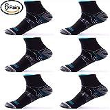 6 Pairs Medical&Althetic Compression Socks for Men Women, 15-20 mmHg Nursing Plantar Fasciitis Arch Support,Compression Ankle Socks for Running Marathon Travel Flight (6Pair Black Blue)