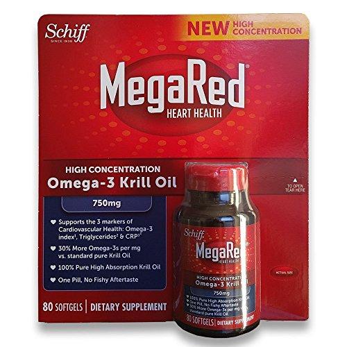 MegaRed 750mg Ultra Concentration Omega-3 Krill Oil, Largersize Pack of 80 softgels Total Total Omega 3
