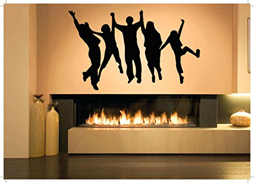 (Wall Room Decor Art Vinyl Sticker Mural Decal Happy Jumping Crowd Poster People)