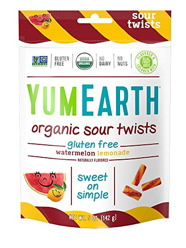 YumEarth Organic Gluten Free Sour Twists Snack Packs, Watermelon Lemonade, 5 Ounce, 6 Count