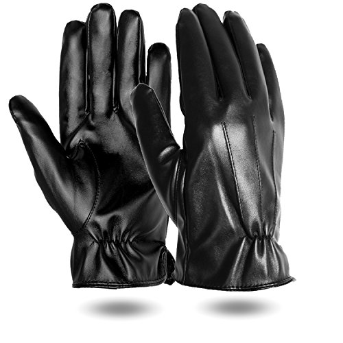 Mens PU Faux Leather Touchscreen Winter Gloves,Gloves for iphone, Texting Gloves for Smartphones