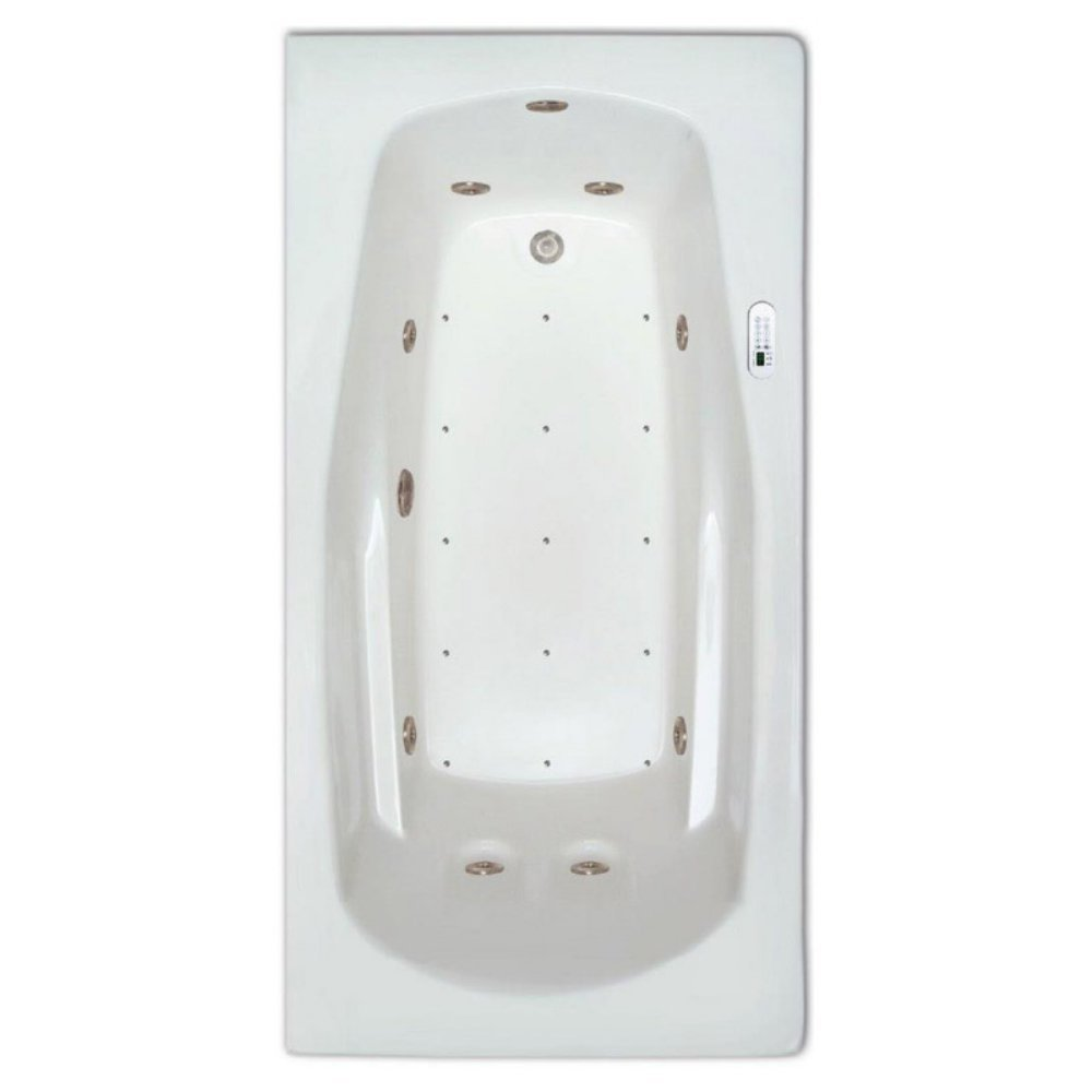 Signature Bath LPI19-C-RD Drop-In Air & Whirlpool Bathtub with Waterfall & Led Lighting - Right Drain, White