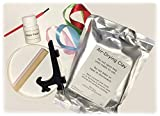 Proud Baby DELUXE Clay Hand Print & Footprint Keepsake Kit - 4 RIBBONS - EASEL - GLAZE FINISH - Dries Stone Hard - No Bake - Air Drying (Makes 2 Plaques)