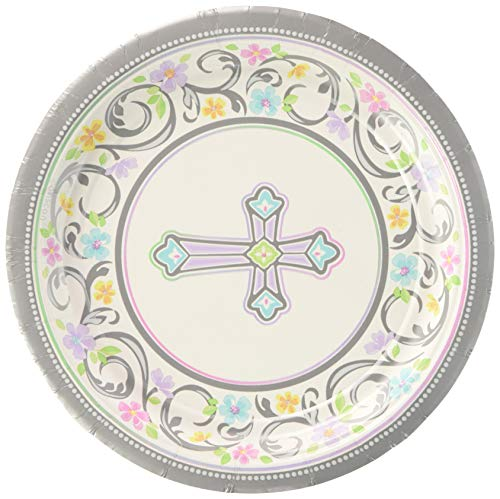 Amscan Sweet Christening Round Luncheon Plates, 18 Ct. | Party Tableware