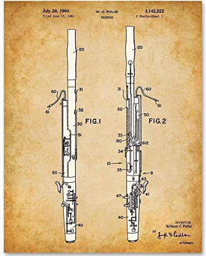 Bassoon - 11x14 Unframed Patent Print - Makes a Great Gift Under $15 for Bassoon Players and Musicians
