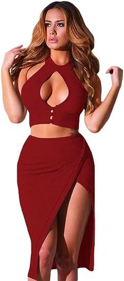 Nuevas señoras rojo botones Crop Top Midi falda de fiesta Club ...