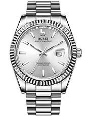 BUREI Herren Quarz Uhren Datum Analoganzeige Armbanduhr Saphirglas Objektiv mit Zwei Tönen Edelstahl Band