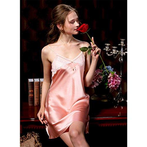 Gold sottile servizio notte seta bretelle Rose lusso Sexy pigiama di Rose XXL camicia seta Size estate di seta di Color leggero seta seta di gold di di pigiama da xO6fnzqW6p