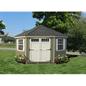 5 sided colonial panelized garden shed with transom windows